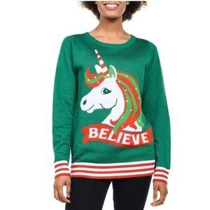 Tipsy Elves | Believe Unicorn Ugly XMAS  Sweater